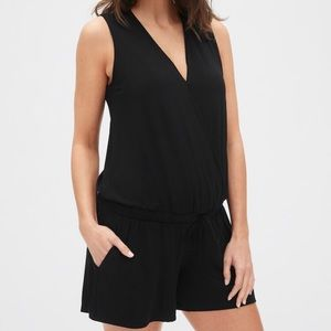 GAP Maternity Sleeveless Knit Wrap-Front Romper-Sm